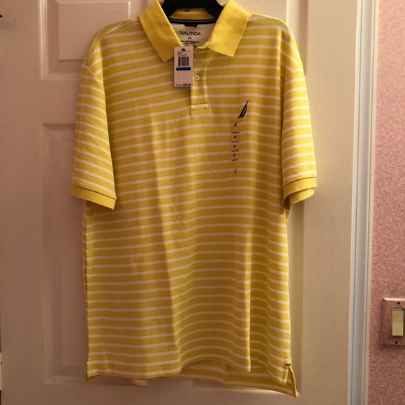 60d1cbdf47a Nautica Shirts | Mens Yellow While Stripe Shirt | Poshmark